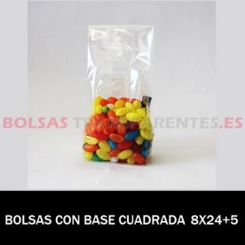 BOLSAS POLIPROPILENO CON BASE CUADRADA 8X24+5