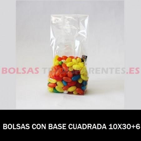 BOLSAS POLIPROPILENO CON BASE CUADRADA 10X30+6
