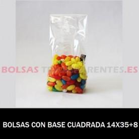 BOLSAS POLIPROPILENO CON BASE CUADRADA 14X35+8