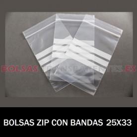 BOLSAS TRANSPARENTES ZIP CON BANDAS DE ESCRITURA 25X35