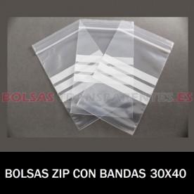 BOLSAS TRANSPARENTES ZIP CON BANDAS DE ESCRITURA 30X40