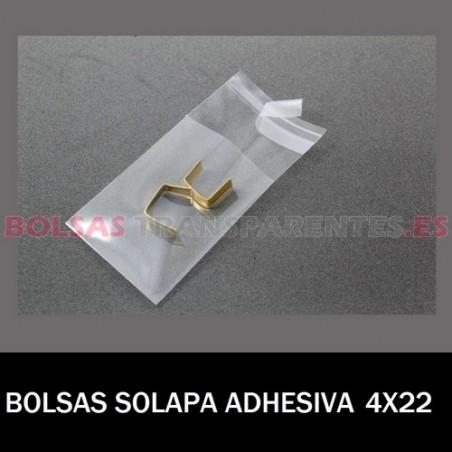 BOLSAS TRANSPARENTES SOLAPA ADHESIVA 4X22 16.000 BOLSAS